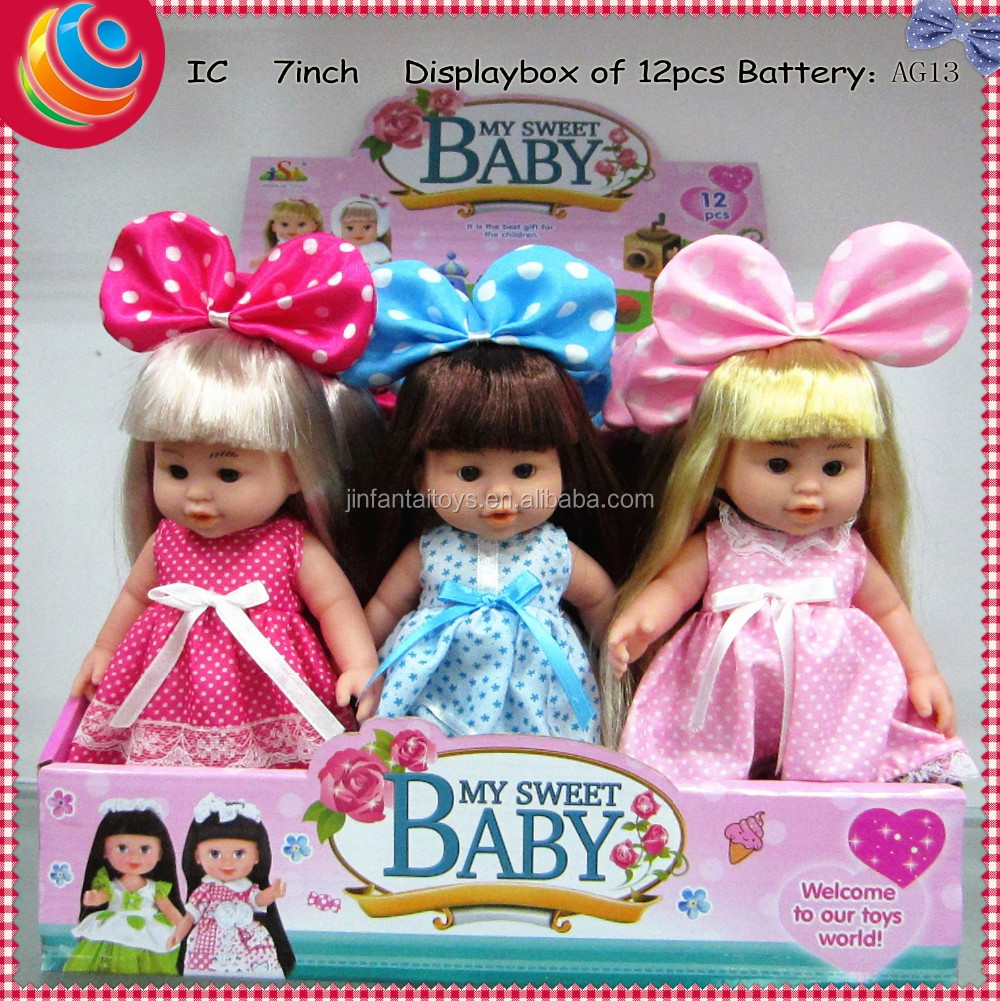 toys for kids china <strong>doll</strong> toy 7 inch big bowknot babies <strong>doll</strong> eight voice IC with shoes 12 pcs in a box