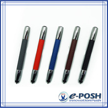 Mini business touch screen pu leather stylus metal gift pen set