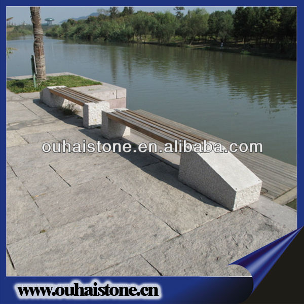 Top Grade Granite Stool With Wood Top Stone Seating Wooden Bench