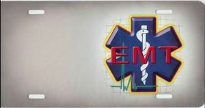 EMT Emblem Offset License Plate