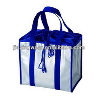 Fashion two compartment wine cooler bag for shopping and promotiom