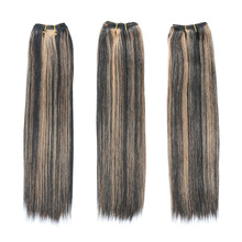 Human hair extensions light yaki bundles two tone color 1b/27 straight hair