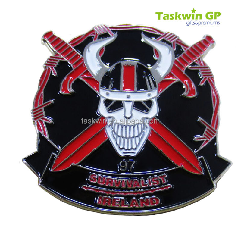 High end iron stamped enamel color red skull metal lapel pins