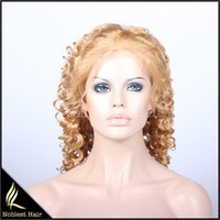 sex blonde 27# tight spical curly brazilian virgin remy human hair full lace wigs invisible hairline