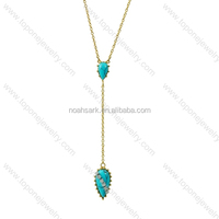 New design fashion jewelry gold long thin chain necklace with bule gemstone for girls