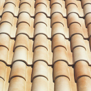 "Spanish ""Fired Cream"", ""Occitan"", double roman ceramic roof tile, made of clay"