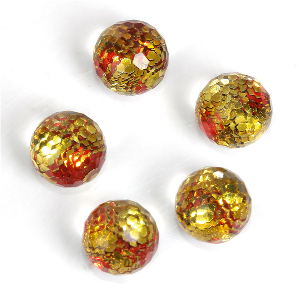 Resin Mermaid Fish /Dragon Scale Dome Seals Cabochon Ball Golden & Red Sequins Transparent Faceted 8mm Dia