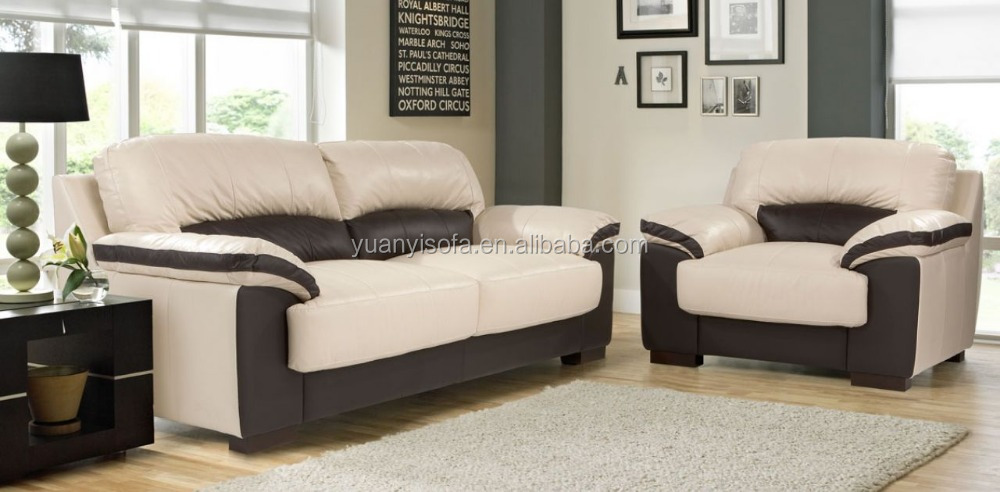 Modern designs classic living room furniture white with black leather sofa set YL2020
