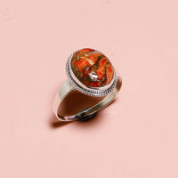 925 Sterling Silver Ring, Natural Orange Copper Turquoise, Engagement Silver Jewelry
