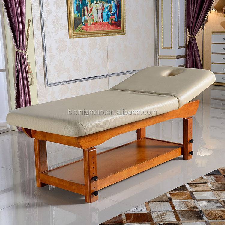 Foldable Two-Section Massage Bed Wooden Frame Full Body Massage Bed Table