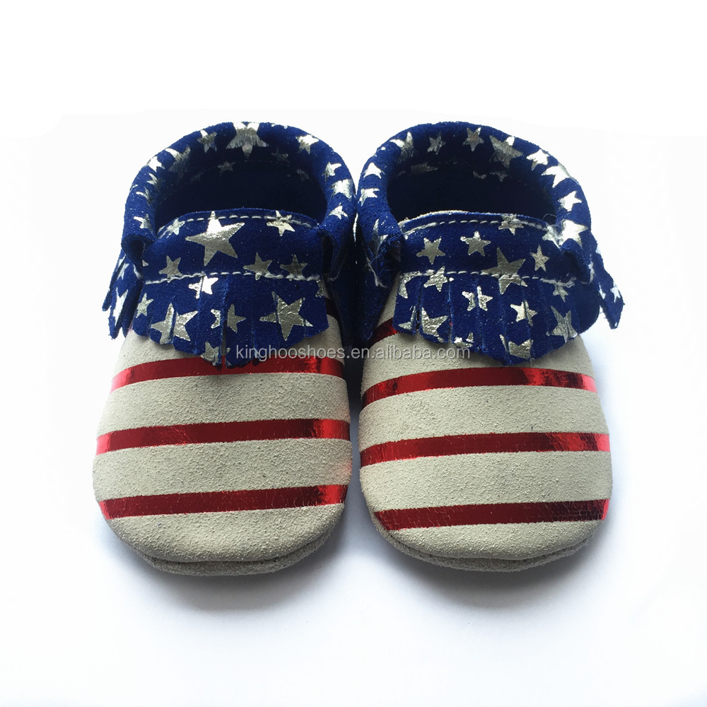 latest design baby suede leather moccasins shoes,American flag pattern baby moccasins