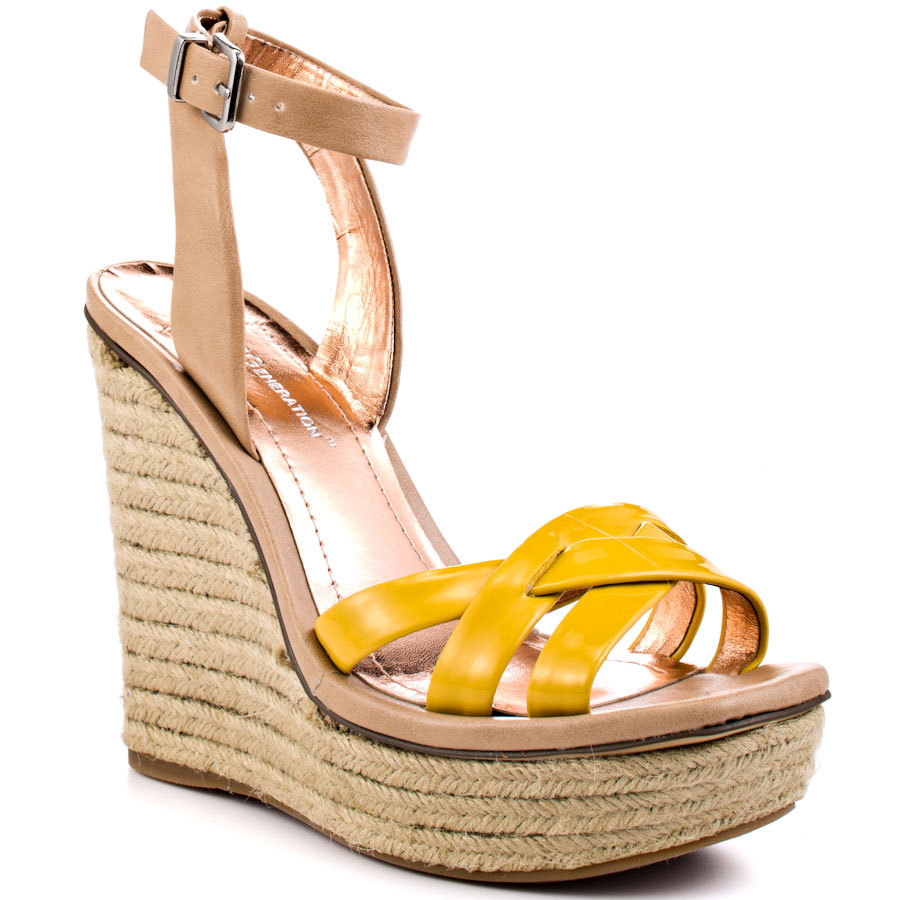 Yellow / Green Criss Cross Wedges Women Sandal Open Toe Ankle Strap Shoes Women 2015 Peep Toe Rope High Heel Summer Style
