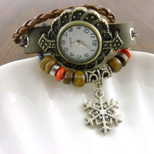 Wood beads leather wrap bracelet wrist watch for women with snowflake pendant