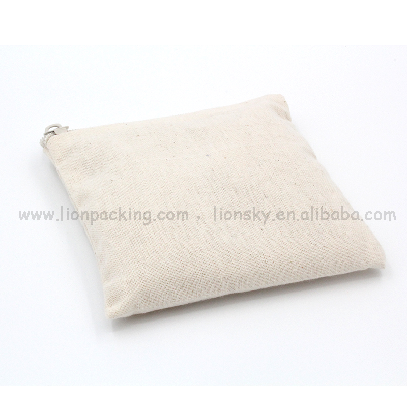 Shenzhen manufacturer Different sizes available metal zipper cotton pouch bag
