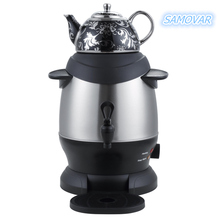 Stainless Steel Turkish Tea Maker, Samovar, with Boil Dry Protection