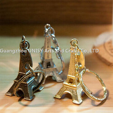 France Tourist souvenirs Pair type Romantic Eiffel Tower metal keyring holder for lover couple key chain