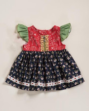 New design little girls boutique flutter sleeve sewing red floral vintage princess style dresses wear suit for children girl
