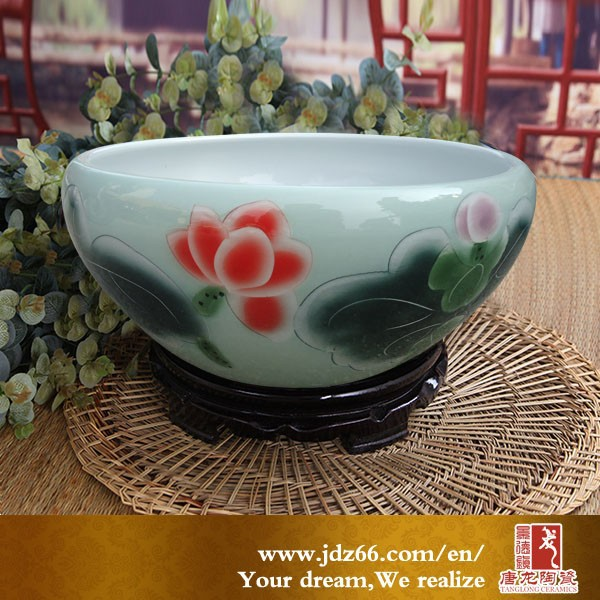 Deliate design excellent quality lotus ceramic bonsai wire pots wholesale in Jingdezhen