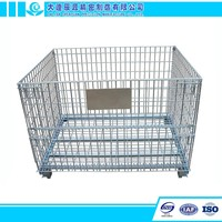 Stackable Foldable Wire Mesh Pallet Cage Metal Bin Storage Container