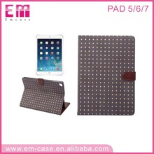Popular conton flip leather mobile case for ipad 5 6 7