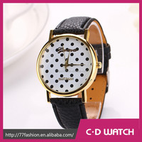 Casual Famous Brand PU Leather Sport Wristwatch Women Wristwatches Geneva Quartz Women Dot Dial Watch XR711