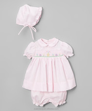 spring and summer cute pink newborn baby clothes persnickety outfits ruffle smocked children clothing wholesale