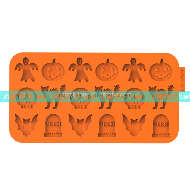 "Silicone Chocochips Collection 8.9"" Non-Stick Silicone Halloween Mold, Orange"
