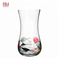 High quality Hand Made colorful Printing Modern Design Crystal Glass Flower Vase for home Decoration
