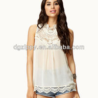 2016 New Design Hot Selling Products Crocheted Romantic Sleeveless gauze blouses/Top For Women