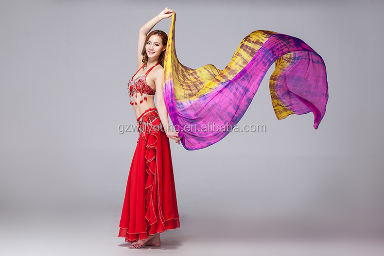 2015 New Arrival Hot Selling Belly Dance Tie-dyed Silk Veils, Pure Silk Fabric, 270*114CM, Tie-dyed Silk Fan Veils