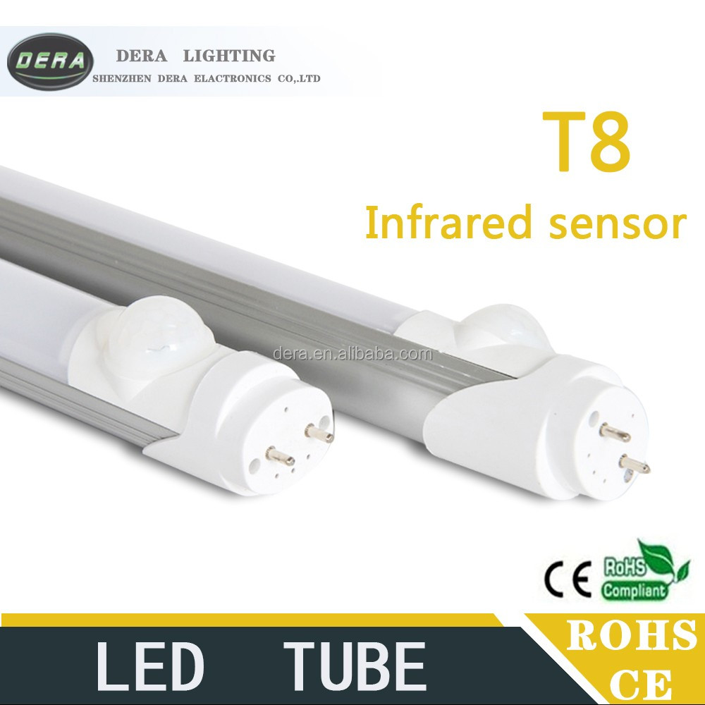 New arrival motion sensor LED t8 tube/Passive Infrared sensor LED tube lighting with CE 1200mm 4ft 18W PIR led infrared motion