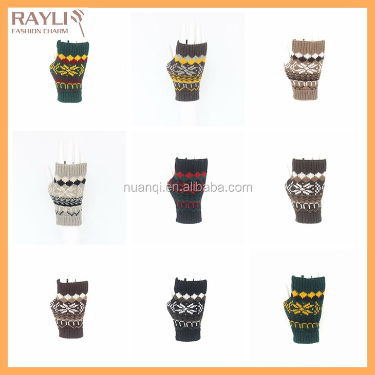 9 colors wholesale high quality jacquard unisex christmas hand gloves mittens knitting pattern