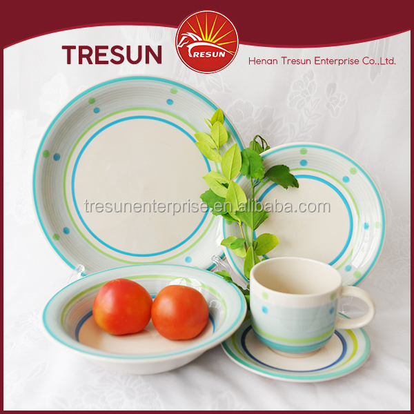 Blue rim with colorful dot stoneware corelle dinnerware sets ceramic crockery dinner set stoneware handpainted chinese plate set
