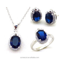 Wholesale Metal Brass Blue Glass Stone Fashion Jewelry Set