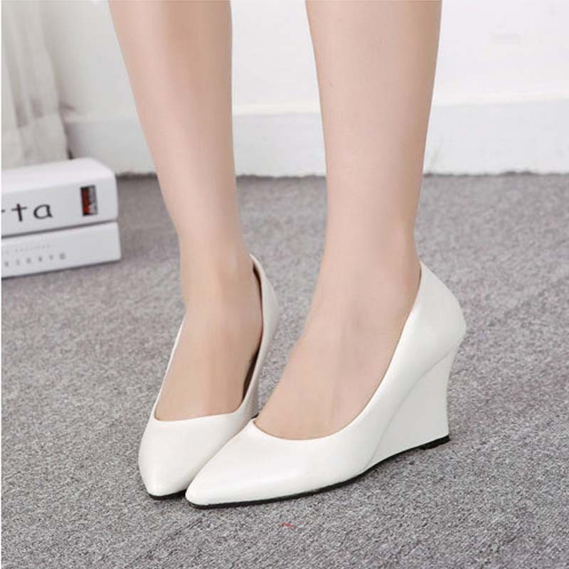 SAA4033 2015 spring the latest fashion pointed wedge heels women's shoes