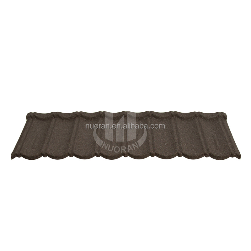 roof material sun UV prevented decorative stone coated metal roof tile