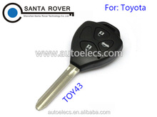 For Toyota Rav4 Corolla Hilux Remote Key Case Shell 2+1 Button Toy43 Blade