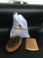 100% Natural wood beard brush and comb set