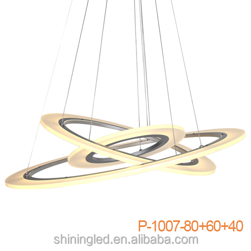 led modern residential white circle ring fancy hanging residential pendant light