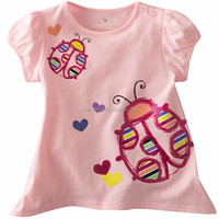 summer style pink girls wear free printed breathable 95 cotton /5 elastane t-shirt