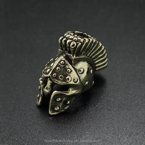 Ancient Greece Warrior Helmet Spartan Paracord Knife Beads Metal Charms Solid Skull Bracelet Accessories Survival DIY EDC Tools