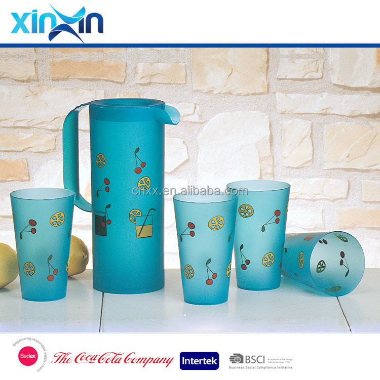 plastic pitcher set with 4 cups