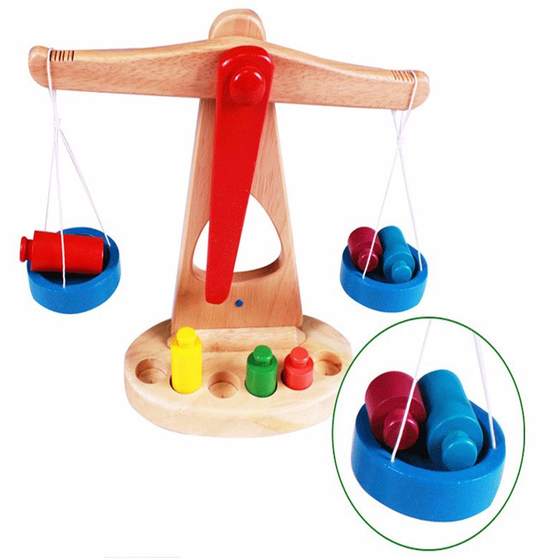 Montessori educational toys wooden balance scale <strong>game</strong> for kids