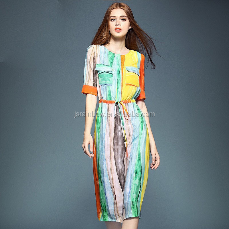 New Simple Fashion Ladies Stripe Long Dress