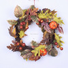 Natural Looking Silk Maple Leaf Hanging Wreath with Pumpkin