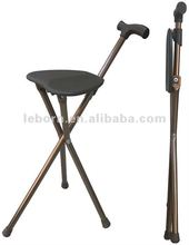 Aluminum walking cane stick with seat