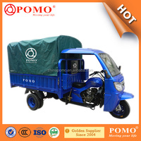 2016 China Made Heavy Load Water Cooled Strong Gasoline Semi- Closed Cabin 300CC Electric Folding Tricycle