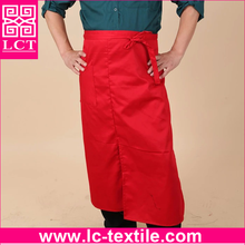Recommend 2015 new arrival constructed of durable Poly/Cotton Twill red waist apron with custom logo imprint(LCTA0159)