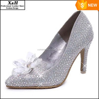 2015 Cinderella Heroine Lily James High Heels Silver Crystal Beaded Formal Occasion High Heel Shoes Rhinestone Wedding Shoes