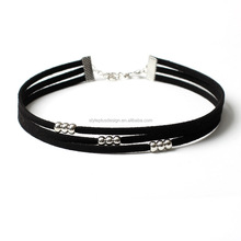 FC396 handmade multilayer suede black choker necklace dainty ccb silver satellite austrian crystal jewelry body chain